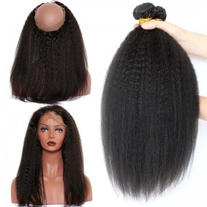 360 Lace Frontal Band Kinky Straight Brazilian Virgin Hair Lace Frontals With Two Bundles