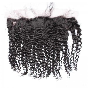 Kinky Curly Indian Remy Hair Lace Frontal Closure 13x4inches Natural Color