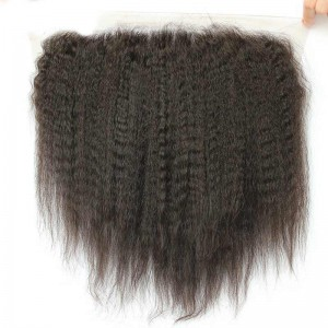 13*6 Lace Frontal With Natural Hairline Kinky Straight Brazilian Virgin Hair Lace Frontal