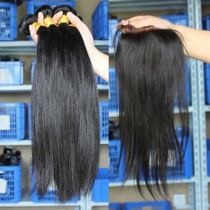 Peruvian Virgin Hair Silky Straight Three Part Lace Closure with 3pcs Weaves