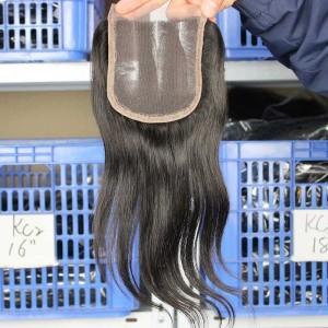 Natural Color Peruvian Virgin Hair Silk Straight Three Part Lace Closure 4x4inches