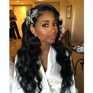 Natural Color Unprocessed Indian Remy 100% Human Hair Loose Wave Full Lace Wigs