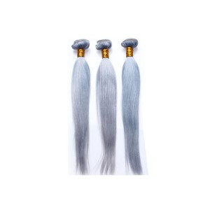 Color Platinum Grey Brazilian Virgin Hair Silky Straight Hair Extensions 3 Buddles