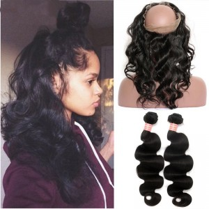 Brazilian Human Virgin Hair Body Wave Pre Plucked 360 Lace Frontal Closure With 2 Bundles