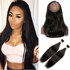 Pre Plucked 360 Lace Frontal Closure With 2 Bundles Brazilian Straight Human Virgin Hair