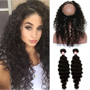 Brazilian Virgin Hair Deep Wave Pre Plucked 360 Circle Lace Frontal With Two Bundles