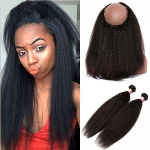 Kinky Straight 360 Lace Frontal Closure With 2 Bundles 100% Brazilian Human Virgin Hair