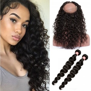 360 Lace Frontal Closure With 2 Bundles Brazilian Loose Wave Virgin Hair 100% Human Hair