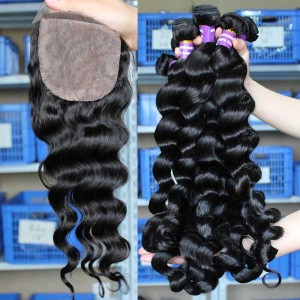 Mongolian Virgin Hair Loose Wave 4X4inches Three Part Silk Base Closure with 3pcs Weaves
