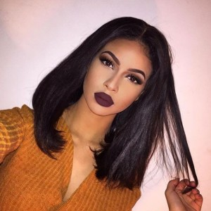 250% Desnity Short Straight Bob Wigs Brazilian Virgin Hair Lace Front Human Hair Wigs