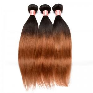 Silk Straight 1B/30 Ombre Color Brazilian Virgin Human Hair Weave 4 Bundles