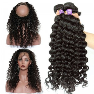 360 Lace Frontal Wigs Brazilian Virgin Hair Deep Wave 360 Circle Lace Frontal With Two Bundles