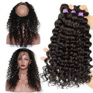 360 Lace Frontal Closure With 3 Bundles Deep Wave Brazilian Virgin Hair Pre Plucked