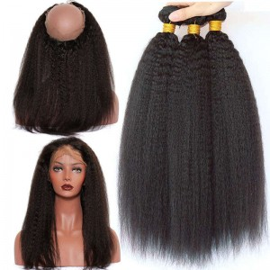 360 Lace Frontal Closure With 3 Bundles Brazilian Virgin Hair Kinky Straight 360 Lace Band with Cap