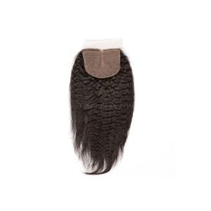 Natural Color Kinky Straight Brazilian Virgin Hair Silk Base Closure 4x4inches