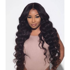360 Lace Frontal Wigs Malaysian Loose Wave 180% Density Lace Front Human Hair Wigs For Black Women