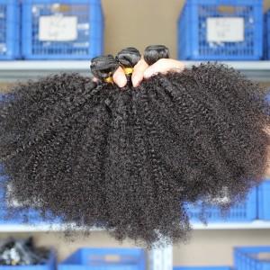 Natural Color Malaysian Virgin Hair Afro Kinky Curly Hair Weave 3 Bundles