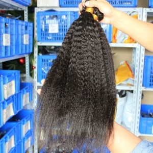Indian Virgin Human Hair Extensions Weave Kinky Straight 4 Bundles Natural Color