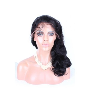 Natural Color Body Wave Peruvian Virgin Human Hair Wig Lace Front Wigs