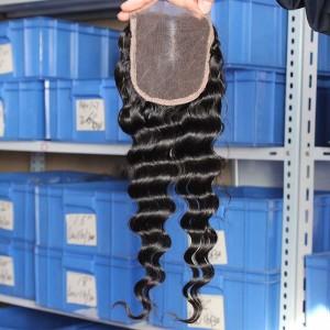 Malaysian Virgin Hair Deep Wave Three Part Lace Closure 4x4inches Natural Color