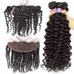 Lace Frontal Closure With 4Pcs Hair Bundles Brazilian Virgin Hair Deep Wave