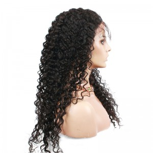 Natural Color Indian Remy Human Hair Wigs Deep Wave Silk Top Lace Wigs