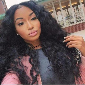 Lace Front Human Hair Wigs 100% Brazilian Virgin Human Hair Wig Deep Wave Pre-Plucked Natural Hair Line