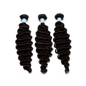 European Virgin Human Hair Deep Wave Hair Weave Natural Color 3 Bundles