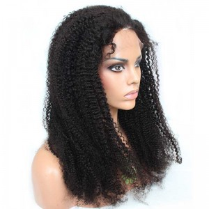 Natural Color Unprocessed Peruvian Virgin 100% Human Hair Afro Kinky Curly Full Lace Wigs