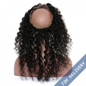 360 Lace Frontal Band Deep Wave Brazilian Virgin Hair Lace Frontal Natural Hairline 22.5*4*2