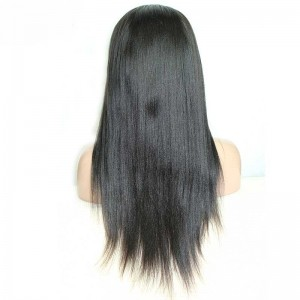 Peruvian Virgin Hair Light Yaki Lace Front Human Hair Wigs Natural Black