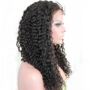 Loose Wave Peruvian Virgin Human Hair Glueless Full Lace Wigs Natural Color