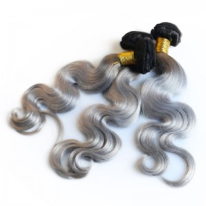 3 Ombre Human Brazilian Hair Weave Bundles Two Tones Remy 1B/50 Grey Body Wave Sunny Queen