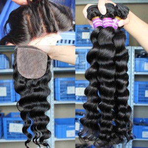 Peruvian Virgin Hair Loose Wave 4X4inches Three Part Silk Base Closure with 3pcs Weaves