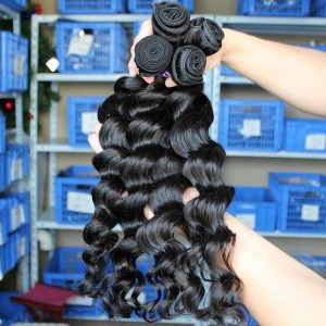 Loose Wave Human Hair Indian Remy Human Hair Extensions 4 Bundles Natural Color