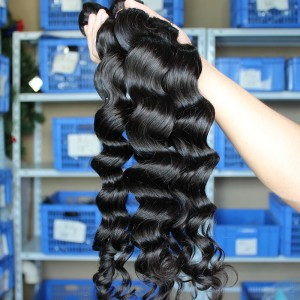 Malaysian Virgin Human Hair Extensions Loose Wave Hair 4 Bundles Natural Color
