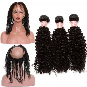 360 Frontal Closure Kinky Curly With 3 Bundles Brazilian Virgin Hair 360 Lace Band Frontal Closure