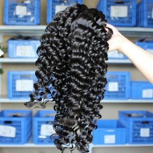 Natural Color Deep Wave Brazilian Virgin Human Hair Weaves 4pcs Bundles