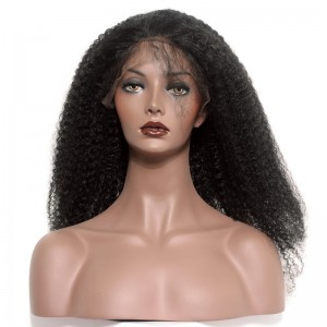 180% Density Afro Kinky Curly Full Lace Human Hair Wigs 8A 360 Lace Frontal Wigs For Black Women