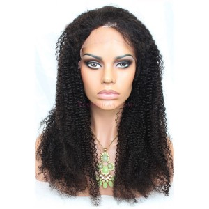 Natural Color Indian Remy Human Hair Wigs Afro Kinky Curly Silk Top Lace Wigs
