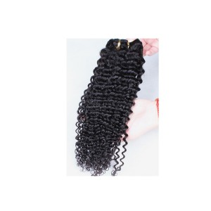 Kinky Curly Indian Remy Human Hair Clip In Hair Extensions Natural Color