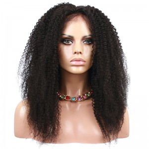 Natural Color Afro Kinky Curly Human Hair Wig Brazilian Virgin Hair Full Lace Wigs