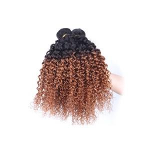 Peruvian Virgin Human Hair Kinky Curly Ombre Hair Weave Color 1b/#30 3 Bundles