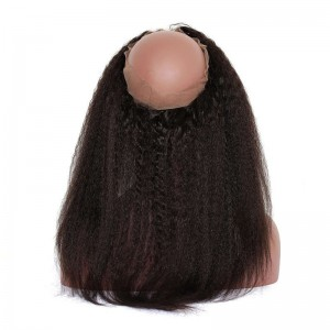 Kinky Straight 360 Lace Frontal Natural Hairline 22*4*2 Brazilian 360 Lace Virgin Hair