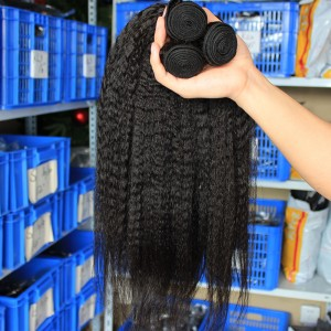 Kinky Straight Mongolian Virgin Human Hair Weaves 3 Bundles Natural Color