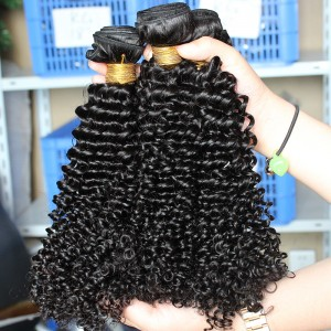 Kinky Curly Indian Remy Human Hair Extensions 4 Bundles Natural Color