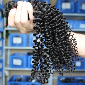Kinky Curly Hair Weave Indian Remy Human Hair Natural Color 3 Bundles