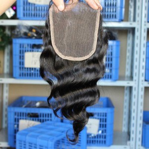 Natural Color Loose Wave Peruvian Virgin Hair Free Part Lace Closure 4x4inches