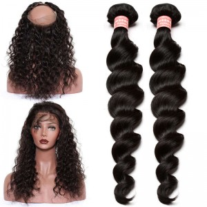 360 Lace Frontal Band with Cap Loose Wave Brazilian Virgin Hair Lace Frontals with Two Bundles