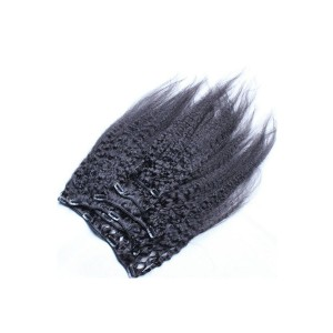 Kinky Straight Mongolian Virgin Hair Clip In Human Hair Extensions Natural Color